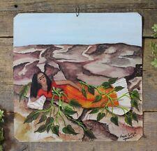 Frida Kahlo Self-Portrait Roots Tin Painting Retablo Oaxaca Mexican Folk Art