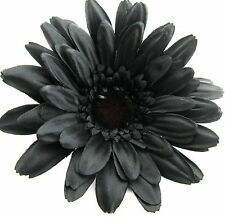 "5 1/2"" Goth Black Gerbera Daisy Poly Silk Flower Brooch Pin with Locking Bale"