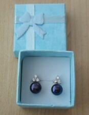 Natural Freshwater Pearl Earrings - AAA+ Highest Grade & Luster - Black