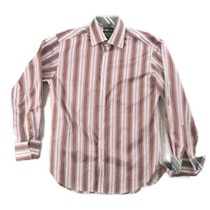"""Ted Baker Endurance XL White Multicoloured Striped Double Cuff Shirt Mens 40"""""""