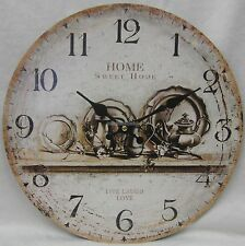 New 34cm Rustic Country Provincial Home Sweet Home Wall Clock Large Numbers