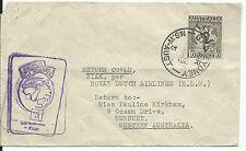 1951 Klm Inaugural Australia - Holland & Return Backstamped Flight Cover