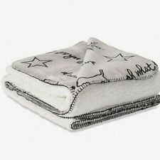 VICTORIA'S SECRET PINK FLANNEL GRAY WHITE COZY SHERPA 50 X 60 RED BLANKET THROW