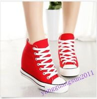 Womens Canvas Hidden Wedge Platform High-Top Lace Up Sneakers Fashion Shoes Sz