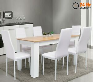 Wooden Dining Table Set With 4 / 6 Pu Leather Chairs Seat Kitchen Room Furniture