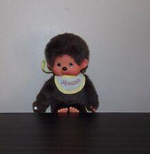 "Monchhichi Boy Vintage Yellow Bib Sekiguchi 7 1/2""  Doll Plush Monkey Sucks Paci"