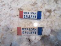 2 RARE War Loan Gallant civilian ribbon, WWII home front, Whitehead & hoag