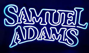 2008 Lighted Samuel Adams Faux Neon Hanging Beer Sign With New Florescent Bulbs