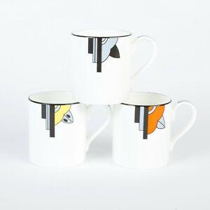 """Set of 3 """"Ritzy"""" Art Deco Style Bone China Mugs"""
