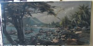 Large Phillipine Oil-1960's-Busy Harbor Scene-Signed-Inscribed-Fabulous-Sleeper