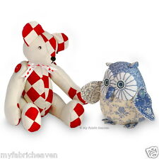 2 X Soft Toy Fabric Sewing PATTERNS Indie Design Teddy Bear & Starry-Eyed Owl