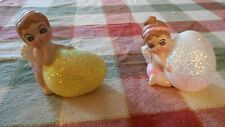 Set of 2 Ceramic Angel Baby Figurines w/glittery Eggs