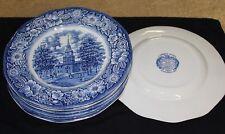 "8 Staffordshire Liberty Blue Ironstone 10"" Dinner Plates Independence Hall"