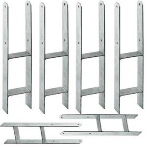 Bulufree Pfostentr/äger 12 STK Silbern Pfostenanker U-Form U-Anker Pfostentr/äger f/ür Carport Zaun 7/×6/×15 cm Verzinkter Stahl