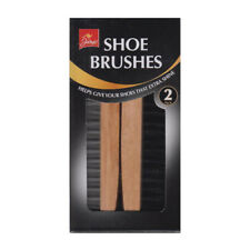 2 Wooden Handle Shoe Brushes Boot Polishing Waxing Shining Brush Twin Pack