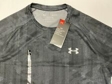 "Men's Under Armour Heatgear T Shirt ""The Tech Tee"" sz S Gray Print Short Slv NWT"