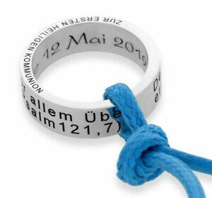 Taufring Gravur Geschenk Taufe Kommunion Namenskette 925 Silber Kette Ring