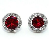 2CT Ruby & White Topaz 925 Solid Sterling Silver Earrings Jewelry, X1