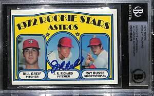 1972 Topps J.R. RICHARD Signed ASTROS Rookie Card Beckett Witness BAS SLABBED