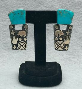 Alex Sanchez petroglyph earrings, turquoise and silver, signed