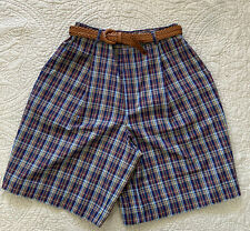 Alfred Dunner Womens Shorts Bermuda Plaid Multicolored Belt Size 8