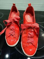 Coach Red Patent Leather women 9 B tennis sneaker.