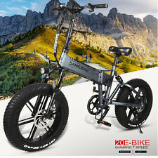 """20"""" Folding Electric Bicycle Power Assist E-Bike 48V 500W 10AH Fat Tire 7Speed"""