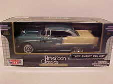 1955 Chevy Bel Air Hard Top Coupe Die-cast Car 1:24 Motormax 8 inch Green w Tan