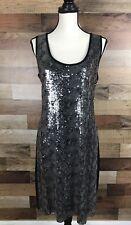 Calvin Klein New Silver & Black Sequin Sleeveless Cocktail Sheath Dress Size L