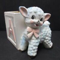 Vintage Lamb and Alphabet ABC Block Napcoware Planter Nursery Shower Napco C4313
