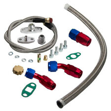 T3/T4 TURBO OIL RETURN + BRAIDED FEED LINE T3 T4 T04E COMPLETE KIT FOR MAZDA