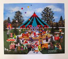Jane Wooster Scott CLOWNING AROUND Hand Signed Ltd Ed Lithograph CAROUSEL RIDES