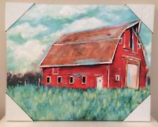 "DG Colorful Decor Farmhouse Red Barn Canvas Print 16"" x 20"" NEW"