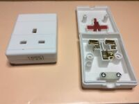 White Trailing Single Electrical UK Mains Extension Socket rewireable 1 Gang 13A