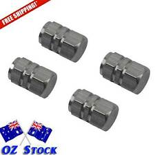4 Dark Grey Wheel Tyre Valve Caps Air Dust Cover Aluminium Car -Oz Stock