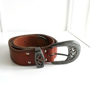 VINTAGE Brown Leather Swirly Patterned Buckle Silver / Pewter tone Sz M