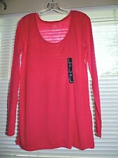 Nwt Gap women tee scoop neck long sleeves 100% rayon STRAWBERRY solid Sz S