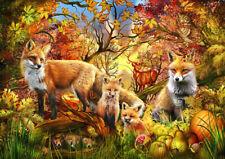 Puzzle Herbst-Wald, 1500 Teile, 30% klein. Teile, Tiere, Natur, Fuchs, Bluebird