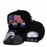 USA American Bald Eagle Shadow Flag Embroidered Baseball Cap Hat Premium