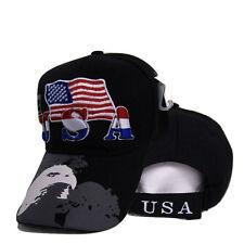 USA American Bald Eagle Shadow Flag Embroidered Baseball Cap Hat Premium