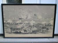 Antique Civil War Print The Bombardment of Fort Sumter WT Crane Original Period