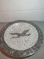 "Vtg Mosaic Stone Dish Plate Large Bird Design Denmark Heide Mosaic 11.5"""