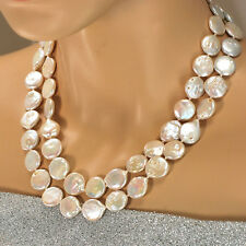 NY6DESIGN 2 Strands Coin Pearl Hand-Knotted Gold Clasp Necklace 18-19""