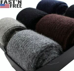 100%Merino Wool Cashmere 3 Pack Men Dress Socks Solid Thick Thermal Classic Crew