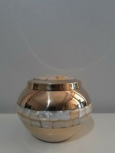 CREMATION URN MEDIUM SIZE - MOTHER OF PEARL WITH GOLD COLOURED TRIM URN