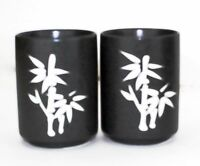 "Quality Porcelain 4"" Tall Tea Cups Set 2 Black Japanese Bamboo Design Drinkware"