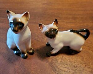 Vintage Pair Siamese Cat Enesco Minature Figures Figurines