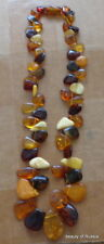 Marvelous BALTIC multicolor AMBER  necklace   beads  WOMEN 17.5 inches  #4s*