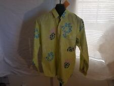 Vintage Union Bay Jeans 1990s Nwt Size Large Lime Green Floral L/S Button Shirt