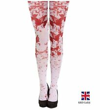 Halloween Fancy Dress BLOOD BLOODY TIGHTS Zombie Scary Ladies Girls One Size UK